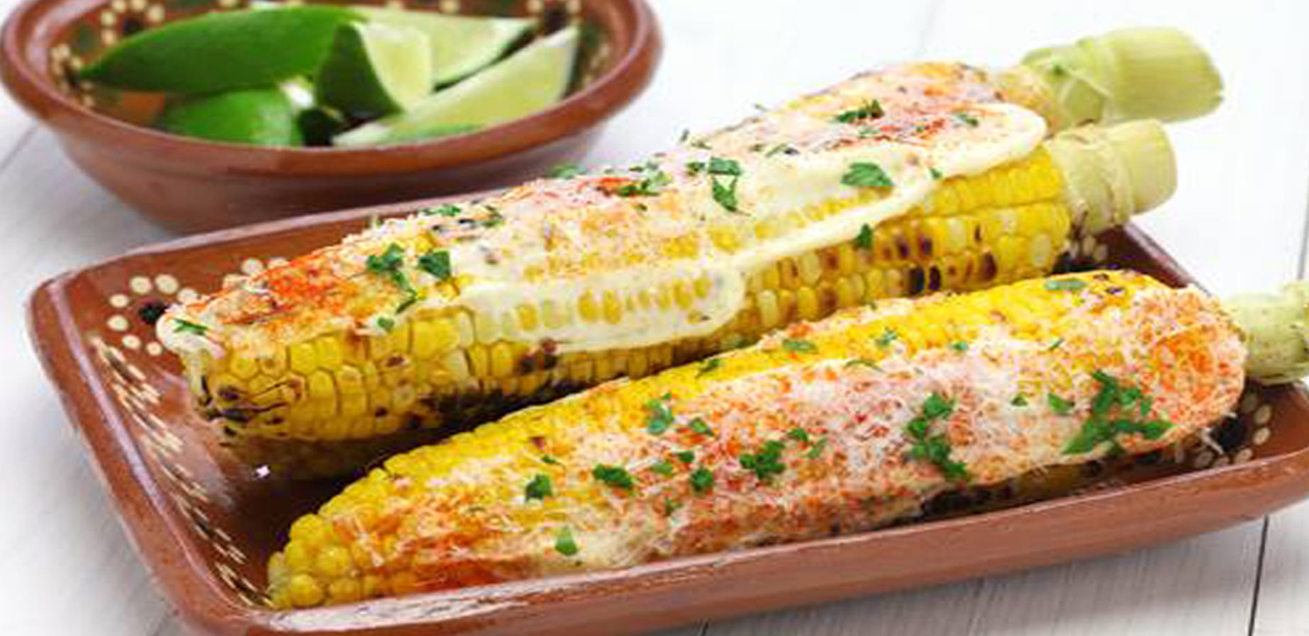 Grilled sweet corn, smokey butter, Mahon